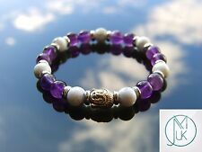 Buddha White Howlite/Dark Amethyst Natural Bracelet 7-8'' Elasticated Healing