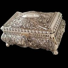 Embossed Rose Antique Style Silver Plated Jewellery Box Padlock Key Ladies Gift