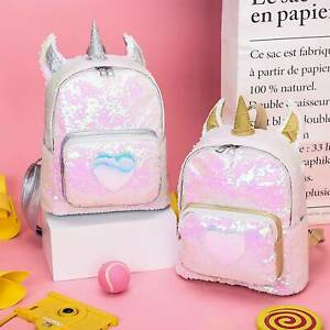 Girls Unicorn Sequin Backpack School Shoulder Bag Handbag Fashion Christmas Gift