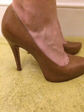 "Ladies Brown Leather Size 6 Platform 5"" High Heel Aldo Shoes"