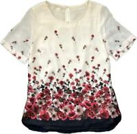 NEW! STUNNING MONSOON Lucia Placement Print Blush Cream Floral Lined Blouse 8-22
