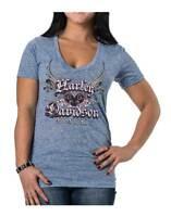 Harley-Davidson Women's Unite Winged Heart Short Sleeve Tee, Blueberry Blue