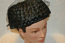 Vintage Black Church Hat with netting