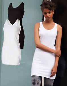 Ladies Womens BLACK or WHITE Extra Long Stretch Tank Top Dress Vest Singlet
