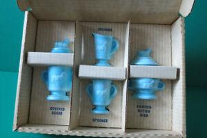 Boyd Art Glass Blue Slag Children's Lamb Set - Vintage in Original Box - New