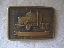 Vintage B T S Solid Brass Made In USA Semi Truck Themed Belt Buckle