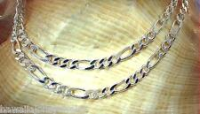 "4MM ITALIAN SOLID STERLING SILVER PAVE CUT FIGARO CHAIN NECKLACE 22"" 17.5gr #2"