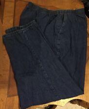 ❤️Womens CHIC Elastic Waist Pants Washed Denim Blue Jeans ~ Plus Sz ~ EUC