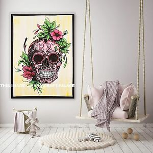 Indian Hippie Human Skull Mandala Multicolor Wall Hanging Tapestry Throw Poster