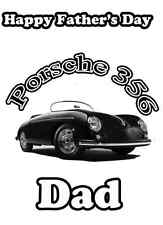 Porsche 356  Happy Father's Day A5 Personalised Card pid262 Dad Grandad STEP