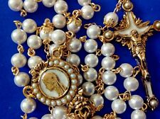 Custom Design PEARL Rosary Gold Plated Handmade Bead Caps 6mm + Rosary Case