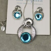 LIA SOPHIA KIAM FAMILY VINTAGE SILVER TONE NECKLACE EARRINGS BLUE CUT CRYSTAL