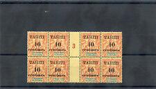 TAHITI Sc 31(YT 32)**F-VF NH, 1903 10c/40c GUT PL BLK OF 8, LT GB'S  LEFT, $1275