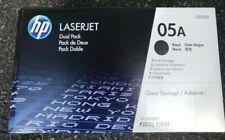 NEW HP 05A CE505D CE505A Dual Pack OEM Genuine Black Laserjet Toner Cartridge