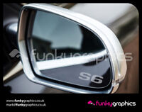 AUDI S6 SMALL LOGO MIRROR DECALS STICKERS GRAPHICS x3 IN SILVER ETCH