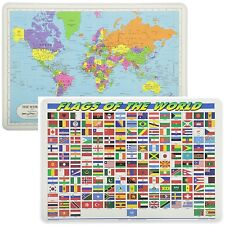 Painless Learning Educational Placemats World Map And World Flags Set Non Slip