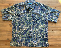 Mens Tori Richard Hawaiian Camp Shirt Blue Green 100% Cotton Lawn XXL
