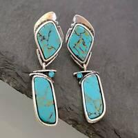 Retro Turquoise 925 Silver Stud Earrings Dangle BOHO Women Cocktail Ear Jewelry