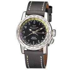 Glycine Men's 3939.19 LB9B Airman Worldtimer Black Dial Black Leather Watch