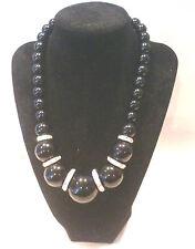 Black Graduated Bead Necklace w/Silvertone Rhinestone Spacers
