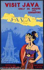 Visit India - Java - Batavia Vintage India Travel Advertisement Poster Art
