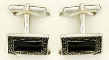 Greek Key Cufflinks Solid Sterling Silver Hallmarked Handmade
