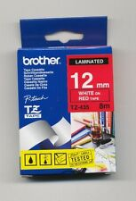 BROTHER P-TOUCH TAPE TZ-435 WHITE ON RED 12MM