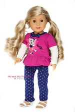 Cheerleading Bear TOP + DOT LEGGINGS 2pc for 18 inch American Girl Doll Clothes
