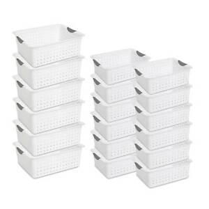 Sterilite Multi-Size Plastic Storage Basket Bin Set w Handles, White (18 Pieces)