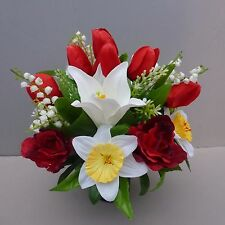 Artificial Spring Flower Arrangement Red/ White In Pot For Grave/Memorial Vase