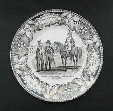 More details for antique 19th century french military plate. paris municipal guard. creil. c.1850