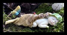 """Fairy Garden"" Sleeping Fairy Baby with Butterfly Resin Figurine Fantasy"