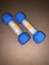 CAP Neoprene Dumbbells 2lbs Blue Pair Hex Weights Workout 2 Pounds Dumbells