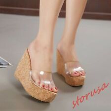 Womens Platform High Wedge Heels Slippers Transparent Open Toe Sandal Mules Shoe