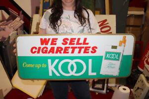 "Vintage 1960's Kool Cigarettes Tobacco Gas Station 30"" Metal Sign NICE"
