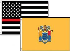 3x5 Usa Thin Red Line New Jersey State 2 Pack Flag Wholesale Set Combo 3'x5'