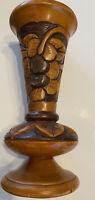 Vintage Hand Carved Wood Vase Beautiful Floral Design Bohemian Boho Mid-Century