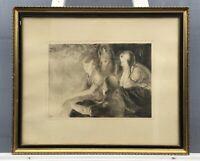 Radierung 3 Mädchen Freundinnen 1927 VL Monogramm   44,5 x 53,5 cm