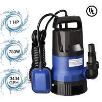 1HP 3434GPH 750W Submersible Water Sump Pump Dirty Clean Swim Pool Pond Flood