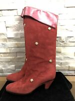 Kurt Geiger Ladies Size 36 EU 3 UK Red Leather Suede Gold Studs Boots RRP £189