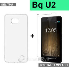 FUNDA TRANSPARENTE tpu + CRISTAL protector de vidrio TEMPLADO BQ Aquaris U2