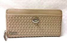 Coach 49434 Park Woven Leather Accordion Zip Around Wallet PIPER TAN Brown NWT
