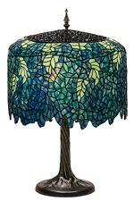 "CASCADING BLOSSOMS Meyda Lighting 28""H Tiffany Wisteria Table Lamp Green Blue"