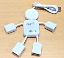 4 puertos USB 2.0 de alta velocidad Hub para PC Laptop Doll Man Diseño Blanco
