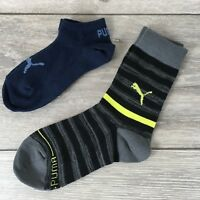 2 x Puma Trainer & Crew Kids Socks 2 Pairs UK C12 - 1.5 EU 31-34 A571-33