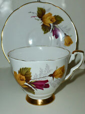Royal Stafford Footed Tea Cup & Saucer Set, Red Yellow Roses, Gold Gilt Trim