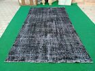 Black Overdyed Rug/5'9x9'10 feet Oushak Hand-knotted Rug/Overdyed Turkish Carpet