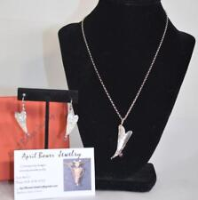 April Bower Sterling Silver Heart Pendant and Pierced Earring Set