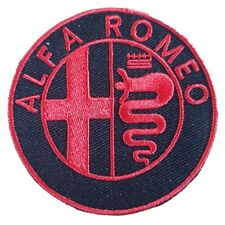 Alfa Romeo Black & Red Iron On Patch Embroidered Sew on Transfer
