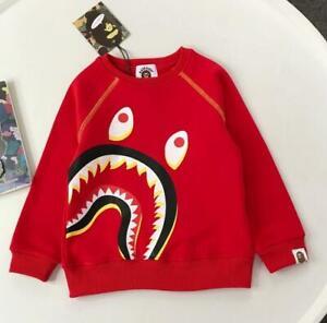 2022 Kids Boy Girl Shark Animal Pullover Sweatershirt Hoodies Jacket Coat
